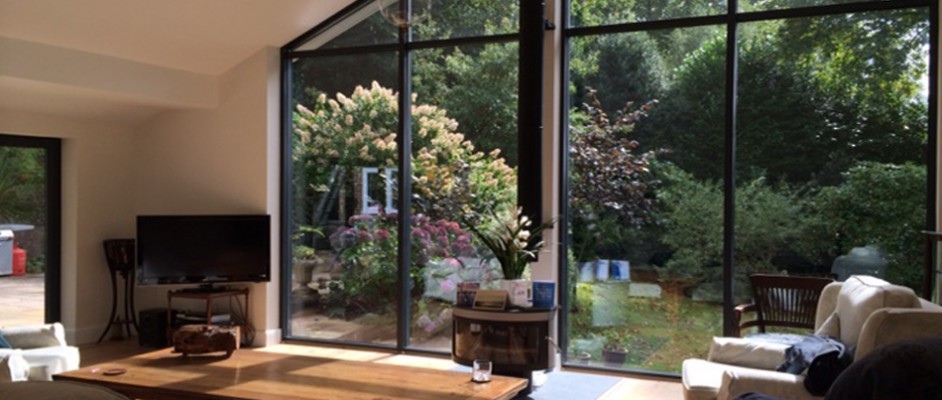 Double height aluminium glazing in Haslemere, Surrey.
