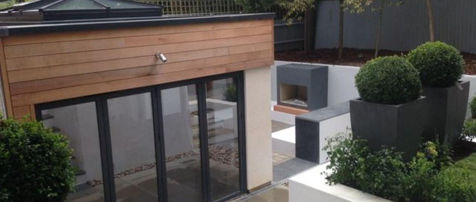 Extension and skylight, with landscaped garden.